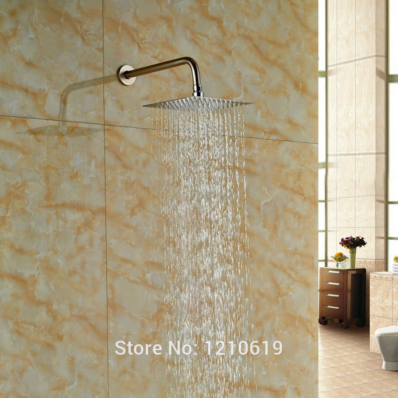 Newly Solid Brass Square Top Shower Head Nickel Brushed 10