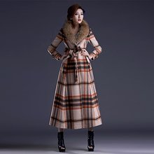 2016 Autumn Winter New Fashion Women's Plaid Outwear Long Cashmere Coat Turn-down Collar Single Breasted Wool Jacket Overcoat