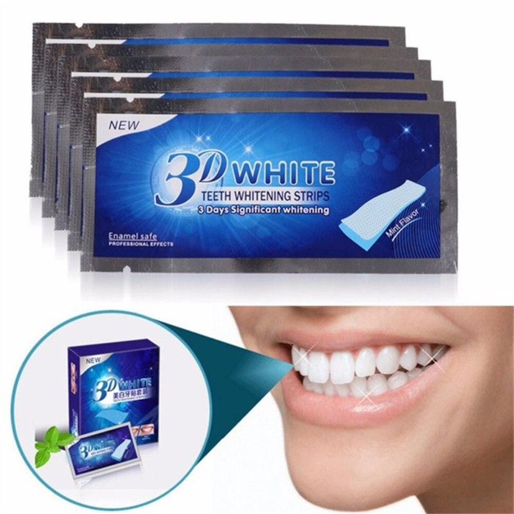 28Pcs/14Pair 3D White Gel Teeth Whitening Strips Oral Hygiene Care Double Elastic Teeth Strips Whitening Dental Bleaching Tools