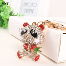Bamboo Red Panda Keyring Cute Lovely Pendant Charm Crystal Purse Bag Car Key Chain Birthday Weddding Party Gift(China)
