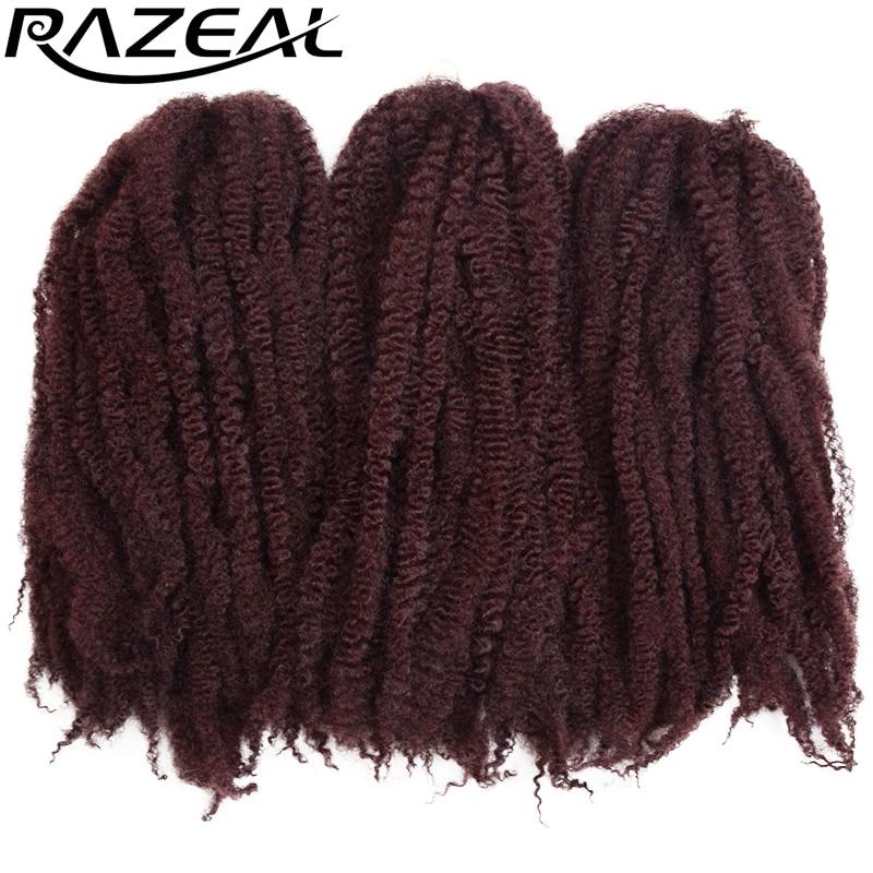Razeal 5Packs 100grams lliw pur Kanekalon Marley Hair Crochet Braids Estyniadau Gwallt Braint synthetig