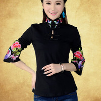 2015 Spring New Ethnic Style Embroidered Collar Long Sleeved Shirt Embroidered T Shirt Women