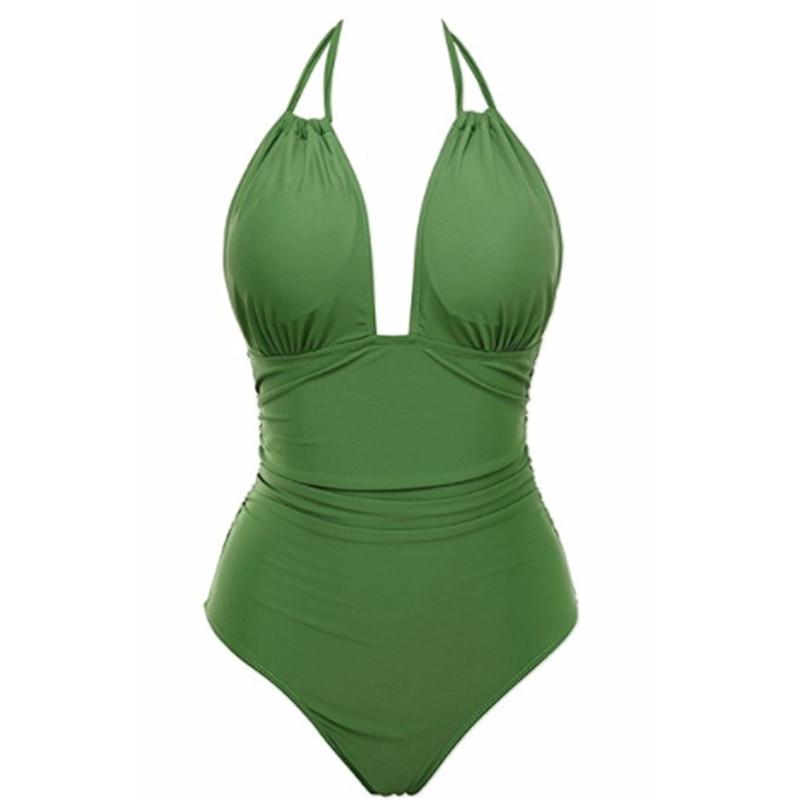 2018 New Women Vintage One Piece Swimwear Backless Tummy Control Monokini Swimsuit Halter Push up Bathing Suit Plus Size M-4XL