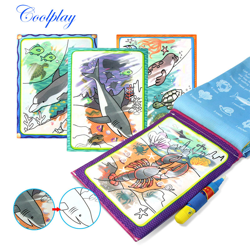 все цены на Magic Water Drawing Mat Coloring Book & Magic Pen Cloth Painting Drawing Board Coloring Book For Kids Toys Toy Gift {