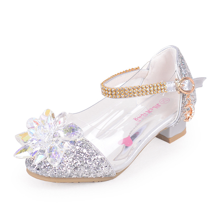 2018 fashion Cinderella crystal bright diamond shoes girl princess single shoes girl performance high heels