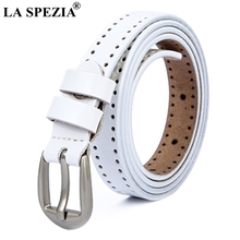 LA SPEZIA White Belt Women Real Leather Chain Pin Buckle Female Classic Genuine Cowhide Ladies Thin With Holes
