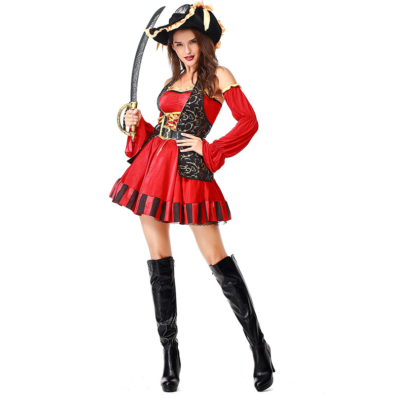Deluxe Pirate Halloween Carnival Costume Party Dress High Quality Captain Party Women Cosplay