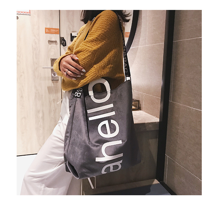 HTB1VvoyhVzqK1RjSZFCq6zbxVXaW - New Large-capacity Velvet Handbag Fashion Lady Letter Shoulder Crossbody Bag High Quality Women's Shopping Bag Tote