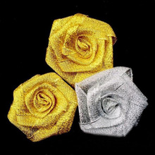 10Pcs/Lot High Quality Handmade DIA 5Cm Gold Silver Ribbon Fabric Rose Artificial Flower Wedding Bouquet DIY Accessoires