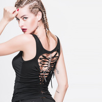 Devil Fashion Punk Gothic Women Back Hollow Out Vest Black Sleeveless Women Sexy Tanks Steampunk Corset