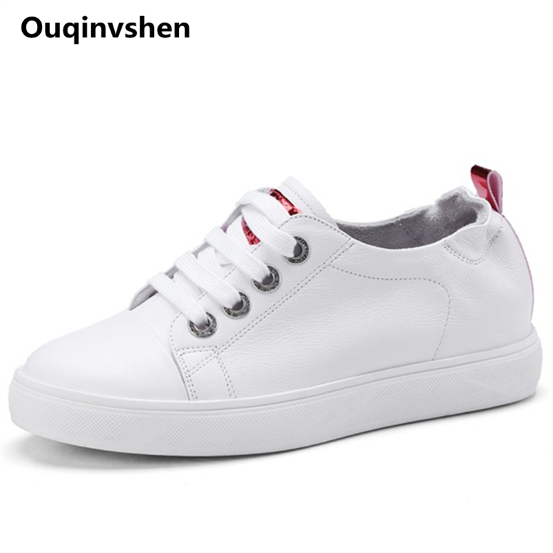 Ouqinvshen Cross-tied White Shoes Round Toe Genuine Leather Fashion Woman Shoes 2018 Spring Summer Casual Flats Women Shoes ouqinvshen shallow genuine leather ladies shoes 2018 big size 34 43 spring summer casual women flats fashion black pink platform
