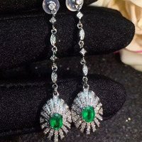 Qi Xuan_S925 Silver Inlaid Columbia Green Stone Earrings Precious Green Stone Women's Jewelry New Year Gift