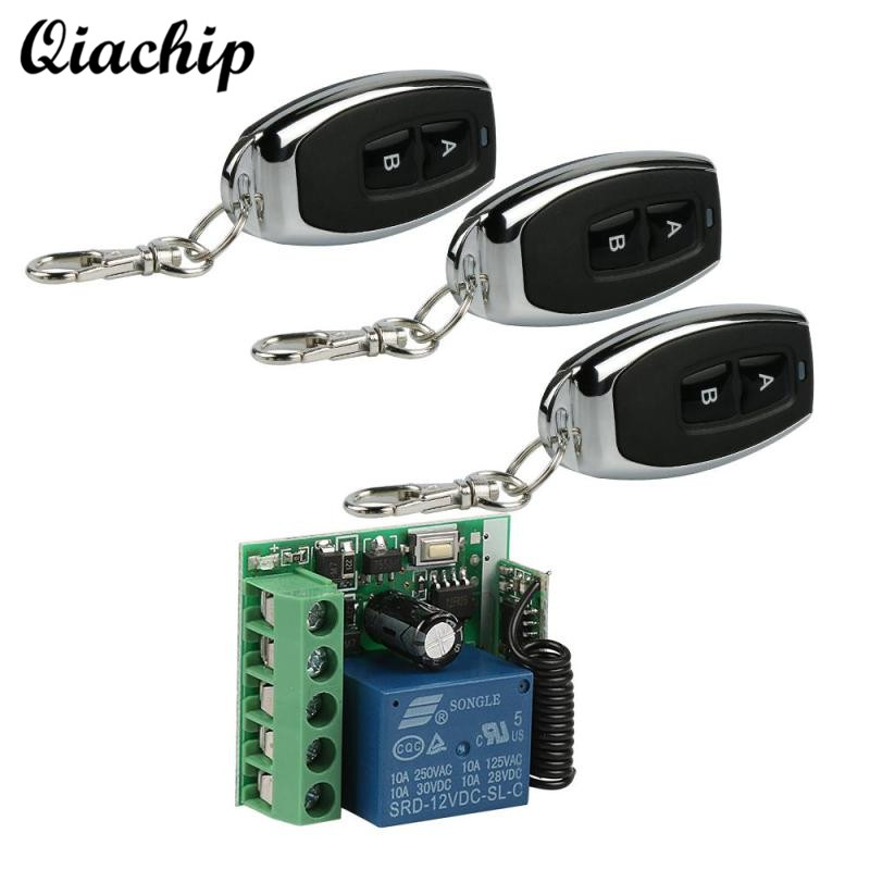 QIACHIP 433Mhz DC 12V Relay 1CH Receiver Module Learning Button and RF 433 Mhz 2 CH Wireless Transmitter Remote Control Switch wireless pager system 433 92mhz wireless restaurant table buzzer with monitor and watch receiver 3 display 42 call button