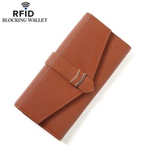Fashion RFID long security fold over coin purse women Lady wallet money clip key bag