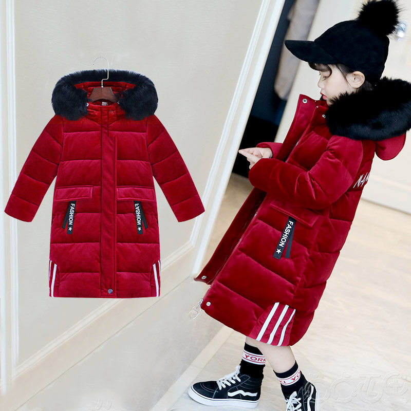 3-13 Years Children Girl Winter Parka Coat Jacket Fashion High Fur Collar Solid Thick Cotton Wadded Outerwear Color Blue / Black 2017 new women winter jacket long solid color fur hooded slim big size female cotton coat wadded warm parka outerwear ok1006