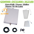65dB GSM DCS 3G 900 1800 2100 MHz Tri-band Telefone Celular Signal Booster Repetidor Amplificador + LPDS + painel de Antena + 15 m 7D-FB Cabo