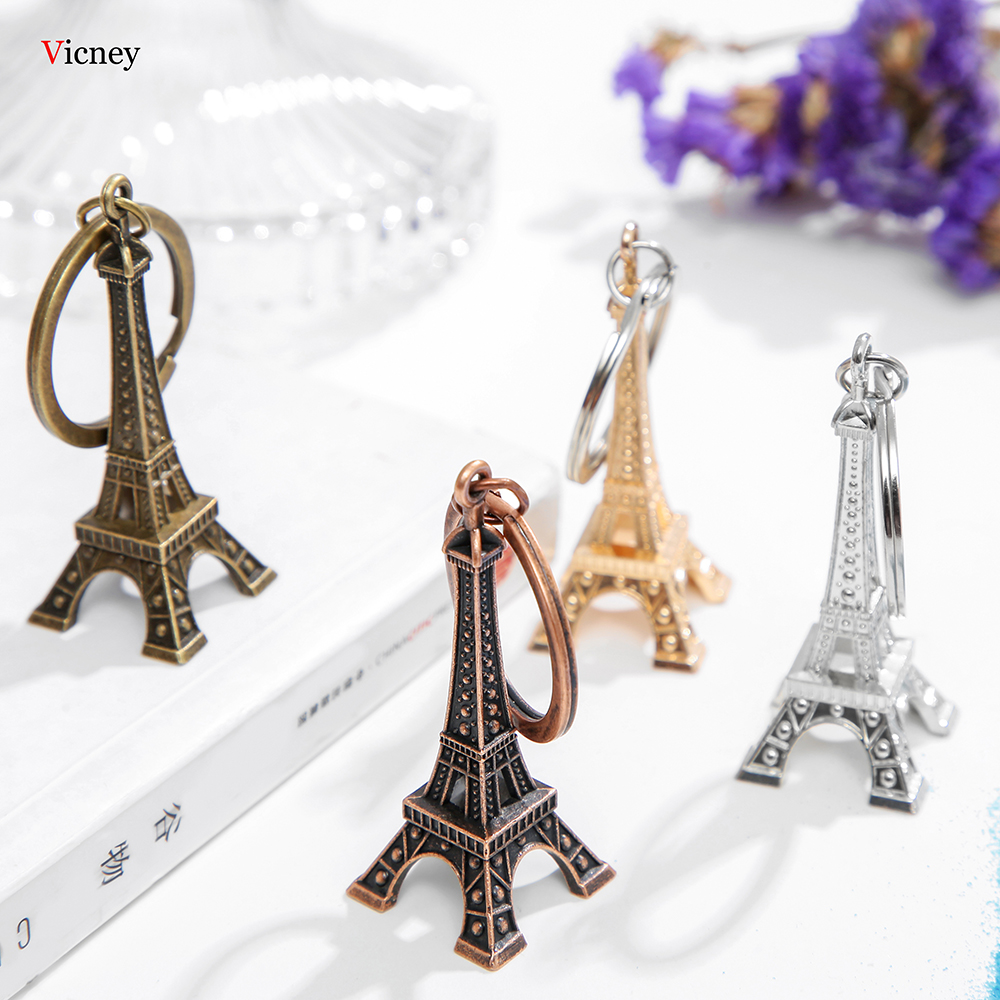 Vicney New Arrival Eiffel Tower Key Chain Key Organizer Antique Bronze And Silver Color Keychain For Key Key Holder Gift