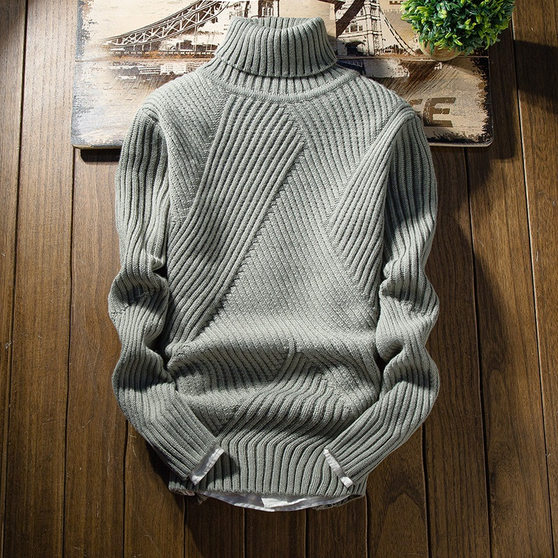New Fashion Classic Solid Color Turtleneck Sweater Men Winter Thick Warm Pullover Men Slim Fit Pull Homme