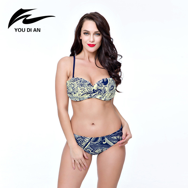 Push Up Swimwear Plus Size Binikis Sets Red Navy Blue Floral Print Large Chest Bikini Women Bathing Suits Beach Wear karen kane new women s size large l navy red embroidered tie front blouse $119