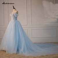 Мода спинки Синий бальное платье кружева белого цвета слоновой кости свадебное платья 2018 свадебное платье без бретелек Robe De Mariage