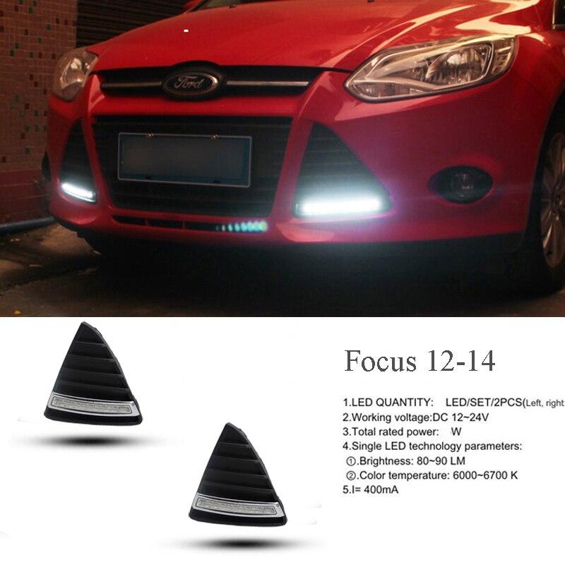 Gloss Model 12v <font><b>LED</b></font> Car DRL <font><b>daytime</b></font> <font><b>running</b></font> light Bumper Front Fog <font><b>lamp</b></font> with dimming style Relay for Ford Focus 2012 2013 2014