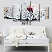 Modular Pictures For Living Kids Room Decorative 5 Pieces/Set Love Words Canvas Painting Print Poster Wall HD Art Framework(China)
