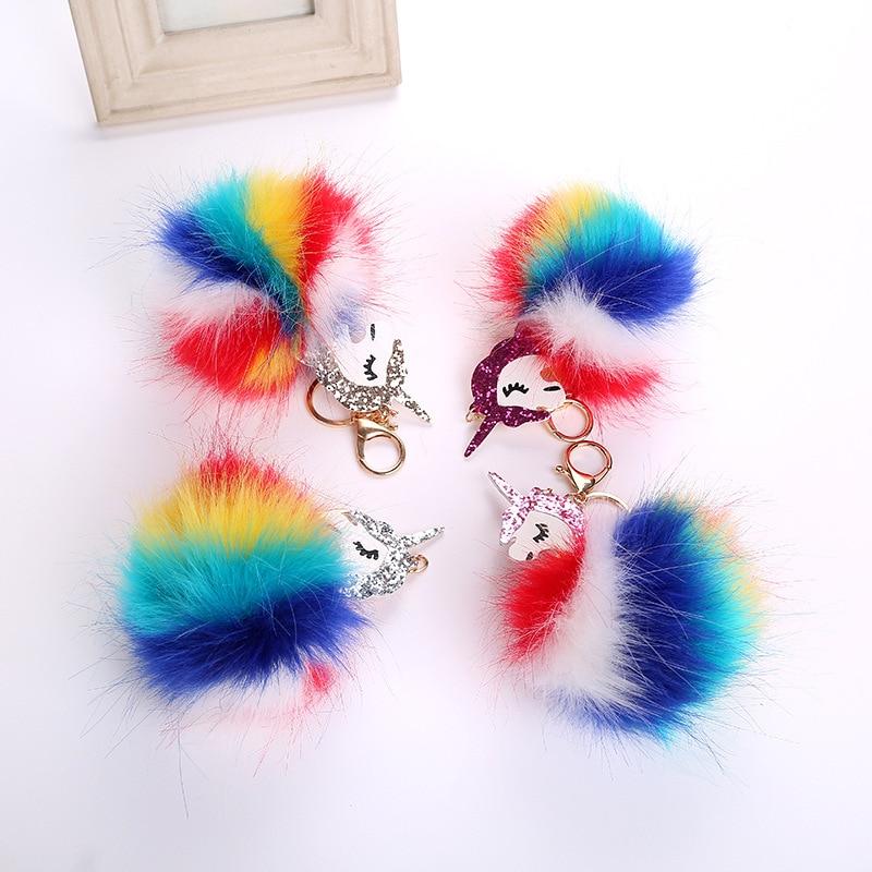 Colorful Faux Fur Unicorn Pendant Keychain