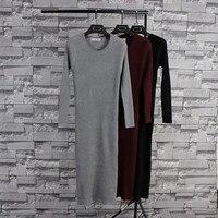 Herfst Winter Hot Casual Mode merk kleding Lange Mouw robe longue femme cashmere Gebreide lange Trui Jurk Voor Vrouwen 973