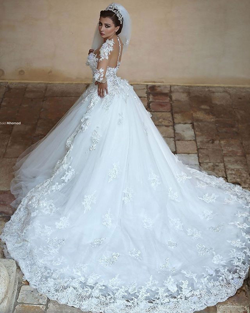Gorgeous Sheer Ball Gown Wedding Dresses 2016 Puffy Lace Applique