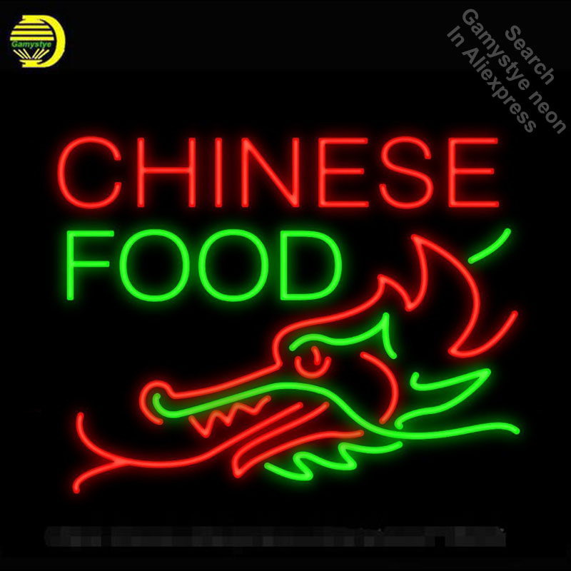 Enseigne au néon pour la nourriture chinoise Dragon fond néon Tube signe artisanat Commercial hôtel Restaurant néon lampe de poche signe DecorateRoom