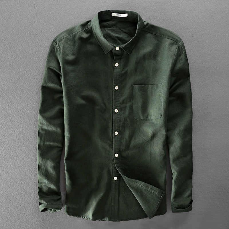 3fddc0873ef Италия Уникальный дизайн бренда зеленая рубашка мужская хлопок и мужские  льняные рубашки с длинными рукавами рубашки