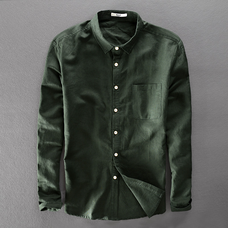 Italy Brand Unique Design Green Shirt Men Cotton And Linen Shirts Men Long-sleeved Shirts Mens 2018 New Clothing Shirt Camisa