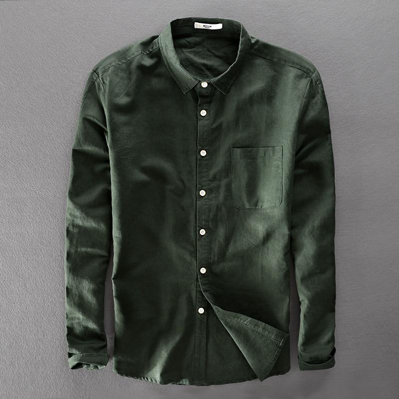 Italy Brand Unique Design Green Shirt Men Cotton And Linen Shirts Men Long-sleeved Shirts Mens 2018 New Clothing Shirt Camisa