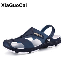 XiaGuoCai 2018 Summer Slippers Lelaki, Slip-On Garden Shoes, Sandal Lelaki bernafas, Plus Size Male Beach Shoes Flip Flops