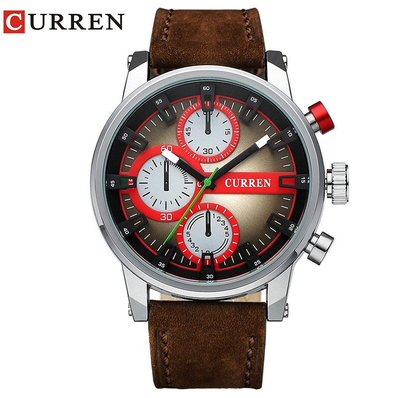 ساعة كورين جديدة للرجال بسوار من الجلد العسكري للرجال كوارتز ساعة رياضية relogio masculino 8170 الشحن مجانا