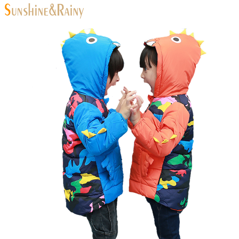ФОТО Cartoon Dinosaur Boys And Girls Coats Children White Down Jacket Camouflage Kids Winter Jacket For Boys Baby Girl Outerwear