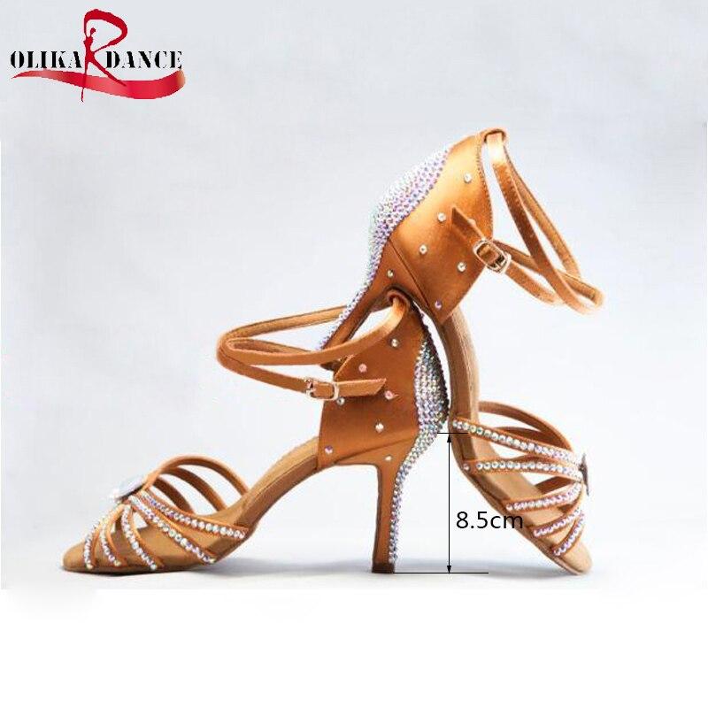 New  Gilr's  Satin Crystal Rhinestone Ballroom SALSA Latin Tango  Shoes  Kids Latin  Sneakers Shoes 2017 ladies glitter rainbow colorful salsa latin shoes women tango ballroom dancing shoes high quality mesh soft sole wk024
