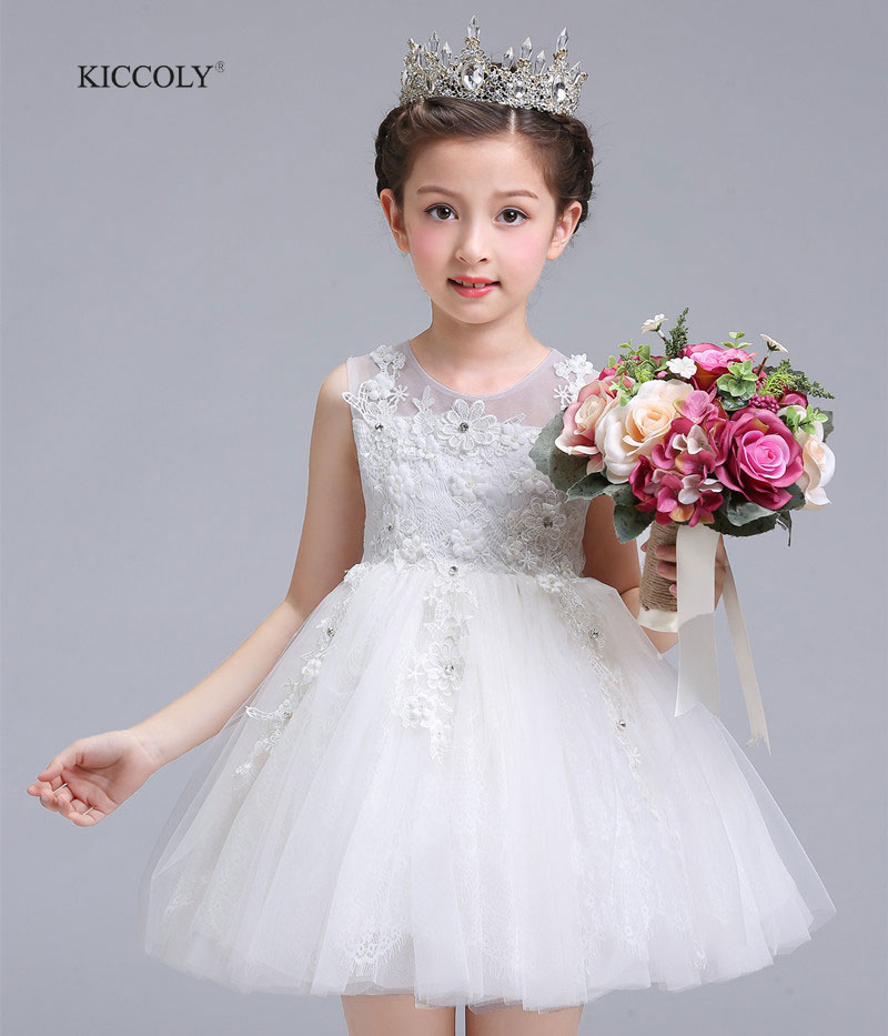 KICCOLY Flower Girl Dress Summer White Clothes Girl 2018 Baby Girl Wedding Tulle Dresses Kids's Party Princess For Girl Childrer gril flower dress multi storey white clothes stage girl performance children show clothes for dance with a pair of glove