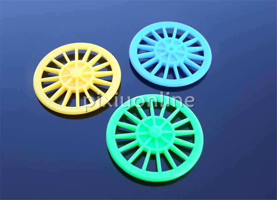 10 Stks Koop K1007b Groen/blauw/geel Out Diameter 37mm Plastic Speelgoed Auto Wiel Koop Bij Een Verlies