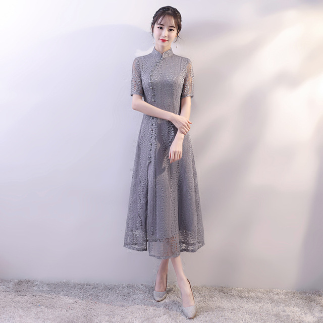 Gray 2019 New Vietnam Aodai Slim A-Line Qipao Elegant Women Lace Sexy  Chinese Dress Vintage Mandarin Collar Long Cheongsam 3b1b095ae70c
