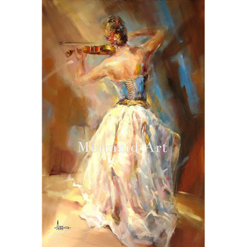 High Quality Beautiful Lady Playing Violin Oil Painting Modern Wall Decoration Hand Painted On Canvas For Wall Artwork