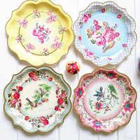 6 uds 11,8 pulgadas estilo europeo de papel desechables platos flor en colores Pastel fiesta placas de papel cumpleaños boda Deco