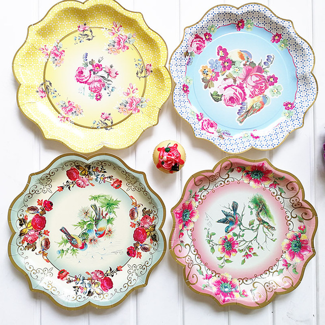 6pcs 118inch European Style Disposable Paper Plates Dishes Pastel
