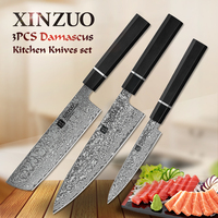 XINZUO 5'' in+7' in+8.5'Utility Slicing Chef Cooking Knife Set Kitchen Knives Damascus Stainless Steel Knives New Ebony Handle