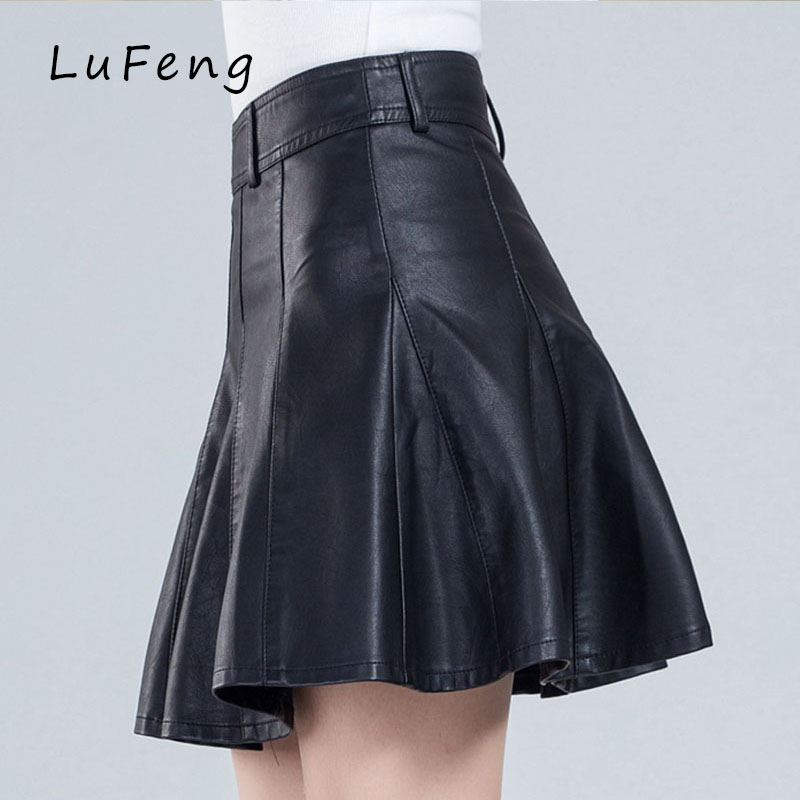 Shorts Women Plus Size Leather Skirt 4xl Winter Jupe Patineuse High Waist Mini Flare Black Short Suede Cuir Gothic Saias 03 126