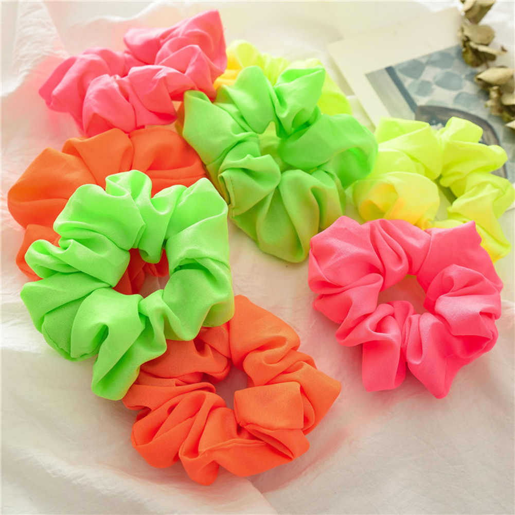 Neon Color Scrunchies Elastic Hair Ties Solid Color Ponytail Holders Pink Green Orange Bright Girls Hair Accessories
