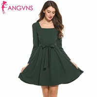 ANGVNS Casual Elegant Dress Ladies 2017 Vestidos Ukraine High Waist Spring Summer Vintage Women Mini Dresses