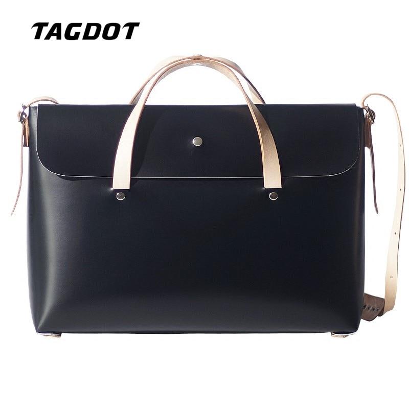 Tagdot Vintage handmade Harajuku Genuine Leather Laptop bag 13 13.3 inch women men Crossbody bag man laptop Nnotebook bag