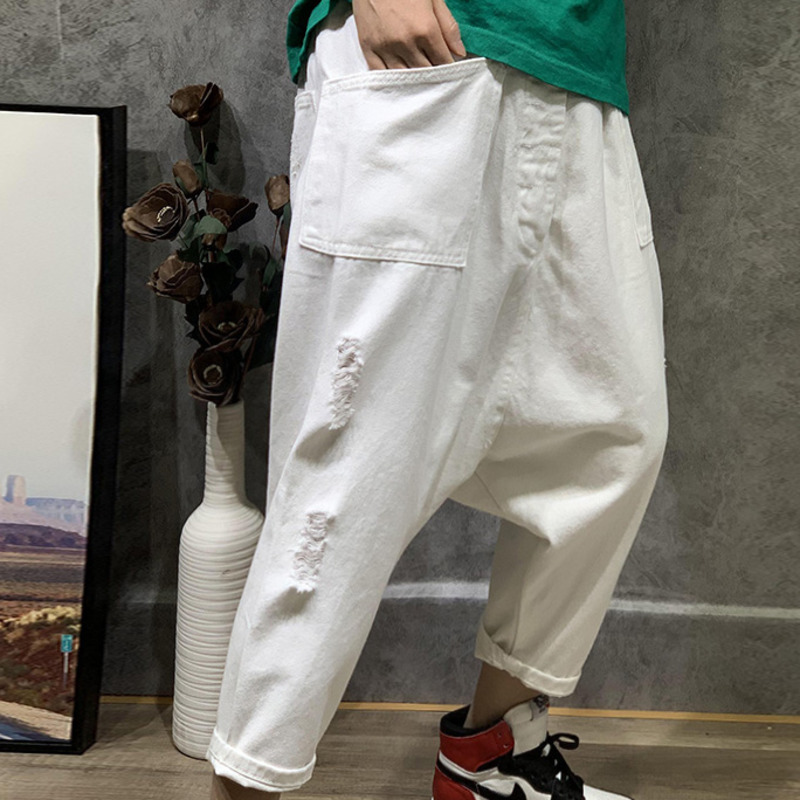 LANMREM 2019 NEW harem pants high waist vintage broken hole big pocket pants female trousers loose
