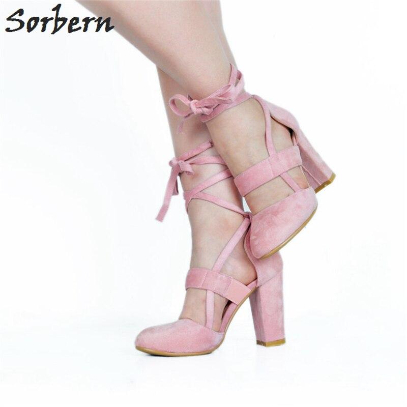 Sorbern розовые флоковые милый круглый носок лодочки с ремешком вокруг лодыжки женские туфли лодочки высокий толстый каблук женские туфли лодочки женская обувь на заказ на каблуке белого цвета/красного цветов на высоком каблуке - 2